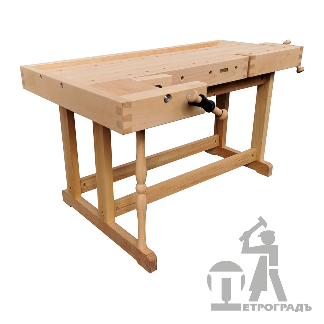 Workbench 1500*600 mm, with tray, front shoulder vise HV511, side shoulder vise HV510