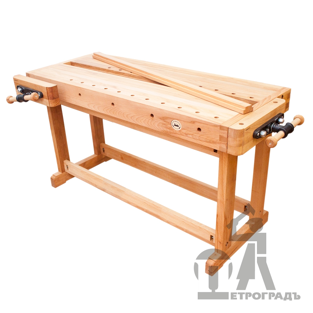 Workbench 1500*600 mm, with groove, front vise - HV516, side vise - HV516